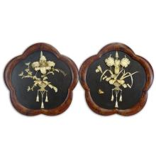 Pair of 20th Century Japanese Lacquered Lobed Framed Panels with Relief Carved Bone Flower Inlay.