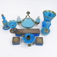 Collection of Nine (9) 19/20th Century Blue Opaline Glass.