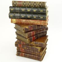 Lot of Eleven (11) Antique Leather bound Hardcover Books.