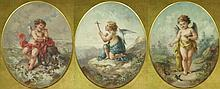 Three (3) Early 20th Century Well Painted Oval Gouaches on Paper, Cherubs as
