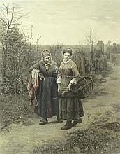 Daniel Ridgway Knight, American (1839-1924) Color Engraving on Paper