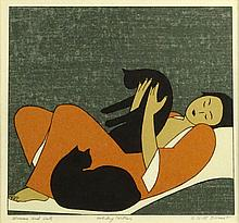 Will Barnet, American (1911-2012) Color lithograph