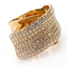 Modern Design 2.0 Carat Round Brilliant Cut Diamond and 18 Karat Rose Gold Crossover Ring.