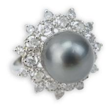 AIG Certified 12.0mm Tahitian Black Pearl, .92 Carat Round Brilliant Cut Diamond and 14 Karat White Gold Ring.