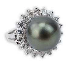 AIG Certified 12.0mm Tahitian Black Pearl, 1.15 Carat Round Brilliant Cut Diamond and 14 Karat White Gold Ring.