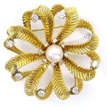 Vintage Approx. 1.0 Carat Round Brilliant Cut Diamond, Pearl and 14 Karat Yellow Gold Pendant/Brooch.