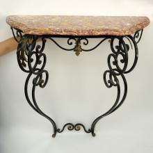 Vintage French Style Wrought Iron Marble Top Console Table.