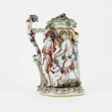 Antique Hand Painted Capodimonte High Relief Covered Tankard.