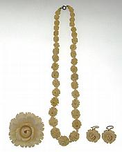 Antique Carved Ivory Three (3) Piece Suite. This Group Includes a Necklace, 19 Inches With Carved
