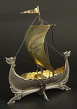 Antique Scandinavian Silver Model of a Masted Sailing Ship. Gold Washed Interior. Marked 830. Measures 5-1/2 Inches. Weighs 1.92 Troy ounces.. Shipping $48.00