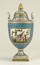 Pretty Antique Hand Painted Wedgwood Urn With Lid. Nicely Decorated With Panels Featuring Birds and Flowers. Signed Wedgwood, England. Good Condition. Measures 9-1/2 Inches Tall. Shipping $62.00
