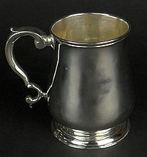 18th C English Sterling Silver Mug. Signed on Bottom with Hallmarks: London, 1755, Makers Mark. Shallow Dings on Cup, The Foot is Slightly Out Of Round. Measures 3-3/4 Inches Tall, Weighs 7.06 Troy Ounces. Shipping $45.00