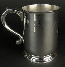 20th C English Silver Tankard. Inscribed: C.W.B.A From