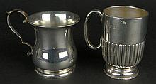 Lot of Two (2) English Sterling Silver Mugs. One Unadorned, Signed with Hallmarks: London, 1932, Makers Mark. Good Condition. Measures 3 Inches Tall; The Other with a Ribbed Design, Signed with Hallmarks: London, 1898, Makers Mark. Good Condition.