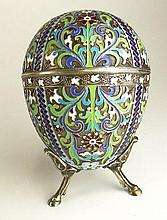 20th Century Russian Silver and Enamel Egg Box with Stand. Signed MC and 84 Standard mark. Good Condition or Better. Egg Measures 4-3/8 Inches Tall and 3-1/2 Inches Wide. Shipping $42.00