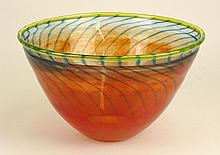 Kosta Boda Art Glass Bowl. Multi-Colored. Signed with Kosta Boda Clear Label. Scratches on Bottom or in Good Condition. Measures 6-1/2 Inches Height, 11 Inches Diameter. Shipping $95.00
