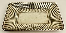 Reed & Barton Sterling Melon Ribbed Rectangular Silver Tray. Signed Reed & Barton (logo) Sterling, X 302. Light Surface Scratches or in Good Condition. Measures 11-1/4 Inches Length, 8-3/4 Inches Width. Weighs Approx. 13.84 Troy Ounces. Shipping