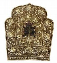 Vintage Tibetan Ghau, (prayer box) was used to carry sacred relics, magical charms and medicinal herbs, and acted as portable shrines used for protection when traveling. Metal with Cloth Cover. Wooden Diety Inside. Good Condition. Measures 12 Inches