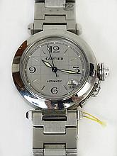 AIG Certified Cartier Pasha C Stainless Steel Automatic Movement Watch. Case Measures 35mm. Bracelet Measures 6 Inches. Minor Surface Wear from Normal use Otherwise Good Running Condition. The Gallery does Not warranty the running condition of