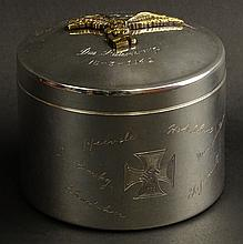 Circa 1942 Nazi Germany Joh Wagner & Sohn Silver Plate Covered Round Box with Relief Gilt Metal Eagle and Swastika and Engraved Inscription