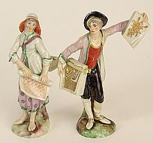 Two 19/20th Century Dresden Porcelain Figures. Underglaze Interlocking C's mark to bases. Repair and Minor Chips. Please Examine this Lot Carefully Before Bidding,