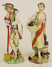 Two (2) 19/20th Century Dresden Porcelain Figures. Underglaze Interlocking C's mark to bases. Small Chips otherwise Good Condition. Measure 4-3/4 Inches Tall. Shipping $36.00