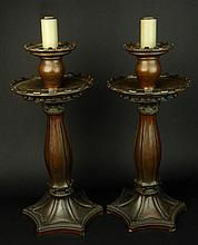 Alwyn C.E.Carr and Omar Ramsden, British (19/20th Century) Rare Pair of Arts and Crafts Bronze Candlesticks, Electrified. Signed and Dated 1909 to Base of One. Drilled Otherwise Good Condition or Better. Measure 17-3/4 Inches Tall and 9 Inches Wide