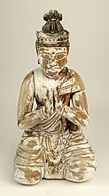 Old Carved Wood Praying Buddha Figure. Distressed Polychrome Patina. Unsigned. Multiple Age Splits, Losses, Rubbing. Measures 14-1/2 Inches Tall. Shipping $65.00