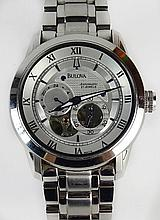 Men's Bulova Stainless Steel Automatic Movement Skeleton Watch Model 96A118. Case Measures 42mm. Bracelet measures 8 Inches. Shipping $32.00