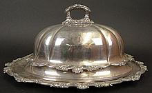 18th Century John Parson & Company, Market Place, Sheffield, England, Silver Plate Roast Dome with Under Plate. Circa 1784. Each Piece Signed with Crossed Keys which was John Parson & Company Logo. Two (2) Matching Coat of Arms on Each Item: Malim