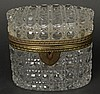 Early 20th Century Crystal Vanity Box with Bronze Mounts. No Key. Unsigned. Good to Very Good Condition. Measures 5 Inches Tall and 5-1/2 Inches Wide. Shipping $55.00
