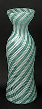 Vintage Turquoise Green and White Swirl Murano Art Glass Bottle Vase. Unsigned. Very Good Condition. Measures 15-1/2 Inches Tall and Measures 5-3/4 Inches Diameter. Shipping $65.00
