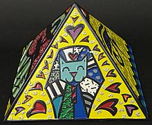 Romero Britto Brazilian-American-Florida (born1965-) Circa 2008 Hand painted Poly Resin Collectible Pyramid