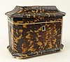19th C English Tortoise Shell Tea Caddy. The interior with two unlined compartments for tea, each lid of tortoise with Mother Of Pearl pull. And the interior lid and base lined in Ivory. Original Key. The lid with original felt backing. Unsigned.