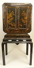 18th Century Chinese Export Lacquer Cabinet on Stand. Highly Decorated with Interior fully lined with shallow Drawers and Compartments. Original Key. Unsigned. Fragile Antique Condition with Losses, Age Splits and Wear. The Cabinet Measures 28 Inches