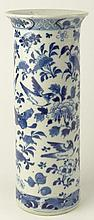 19th C Chinese Porcelain Tall Cylindrical Blue & White Vase With Flared Rim. Features a Bird, Butterfly and Floral Motif. Signed with Kangxi Calligraphy Marks. Good Condition. Measures 10 Inches Tall, 4-1/8 Inches Diameter. Shipping $88.00