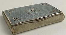 Antique French Guilloche Enamel and Silver Miniature Box. Suede Covered Body with Lined Interior. Unsigned. Minor Loss to Suede and Wear Commensurate With Age. Measures 3-1/4 Inches by 2-1/2 Inches. Shipping $25.00