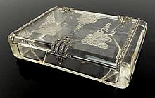 Art Deco Miniature Etched Crystal Box with Platinum, Diamond and Sapphire Mountings. Unsigned.