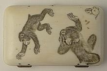 Fine Antique Japanese Meiji Carved Ivory Cigarette Case. Detailed Monkey Motif. Unsigned. Typical Wear and Yellowing or in other wise good condition. Measures 3-1/2 Inches by 2-1/4 Inches. This item will only be shipped domestically and was legally