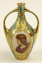 Royal Vienna Double Handled Portrait Vase