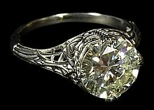 EGL Certified 2.83 Carat Round Brilliant Cut Diamond and Platinum Filigree Engagement Ring. Diamond J-K, SI1 Clarity. Diamond Measures 9.35 x 9.32 x 5.28mm. Signed Plat. Very Good Condition. Ring Size 7. EGL Report US 912820502D. Approx. weight: 2.95