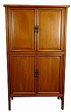 Contemporary Ming Style Cabinet. Double Door on both Top and Bottom. Brass Hardware. Unsigned. Good Condition, with Minor Wear, Scratches, Rubbing. Measures 67-1/4 Inches Tall, 38-3/4 Inches With, 18 Inches Depth. We will not ship this item due to