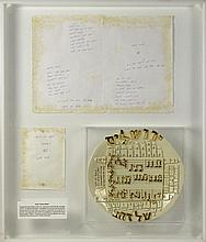 Framed Original Hand Written Lyrics to Jerusalem of Gold - Yerushalayim shel Zahav By Naomi Shemer. This Lot also Includes a Handmade, Hand Painted Ceramic Dish featuring the Song. Both Items Framed inside a Heavy Lucite Shadowbox with a Descriptive