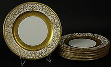 Six (6) Antique Grainger England Gilt Porcelain Plates. Signed. Very Minor Rubbing to Rim of One Plate Otherwise Good Condition. Measure 10-1/4 Inches Diameter. Proceeds of the sale of this item to benefit the Leidesdorf Foundation, West Palm Beach,