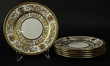 Six (6) Antique Crown Sutherland Gilt Porcelain Dessert Plates with Hand Painted Floral Accents. Signed. Very Good Condition. Measure 9-1/4 Inches Diameter. Proceeds of the sale of this item to benefit the Leidesdorf Foundation, West Palm Beach,