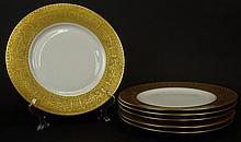 Six (6) Hutschenreuther Porcelain Dinner Plates in the Royal Bavarian Pattern with Raised Gilt Border. Signed. Good Condition or Better. Measures 10-3/4 Inches Diameter. Proceeds of the sale of this item to benefit the Leidesdorf Foundation, West
