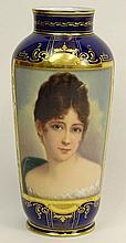 20th Century Royal Vienna Hand Painted Porcelain Portrait Vase.