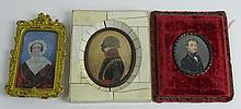 Three (3) Antique Portrait Miniatures, Two (2) Watercolor on Paper, One (1) Oil on Ivory, Lady with Bonnet. Unsigned. Moisture Stains to Portrait of Man in Profile in Ivory Frame Otherwise Good Condition. Ivory Frame Measures 5-3/8 Inches Tall and