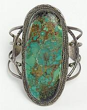 Rare Old Pawn Native American Sterling Silver and Large Green Turquoise Cuff Bracelet. Signed Sterling. Good Condition. Measures 4 Inches Wide. Interior Diameter 2-3/4 Inches. Approx. Weight: 3.46 Ounces. Shipping $32.00