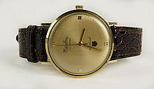 Man's Vintage Lucien Picard 10 Karat Yellow Gold Filled Seashark Automatique Watch with Leather Strap. Case Signed. Surface Wear from Normal Use. Watch Appears to be Running. The Gallery does not Warranty the Running Condition of Watches. Case